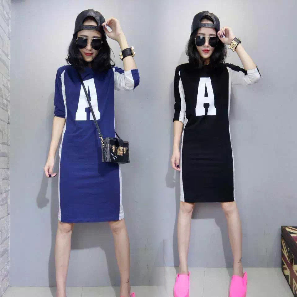 Europe station 2021 spring and summer new European womens fashion brand long t show thin large size long sleeve T-shirt bottom dress