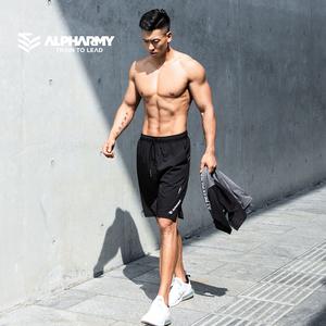 alpharmy速干男士健身宽松拉链短裤