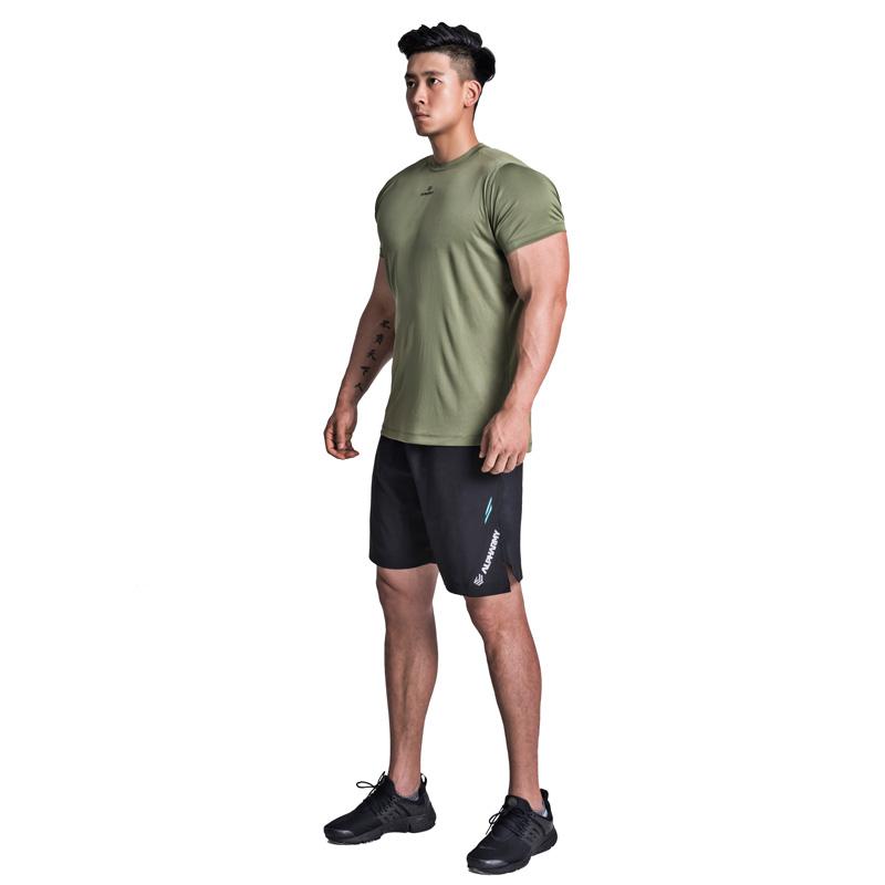 Alpharmy健身速干短袖男宽松运动肌肉T恤弹力衣丝滑吸汗透气薄款