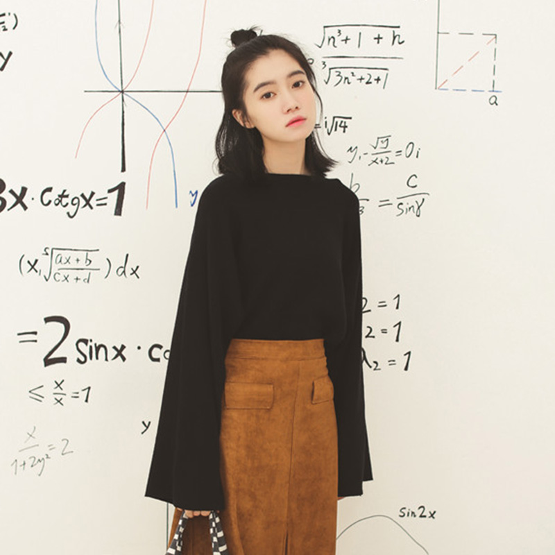 Knitted Top Womens autumn and winter 2020 Korean version long sleeve thin style outer wear short sweater Pullover loose inner bottom shirt