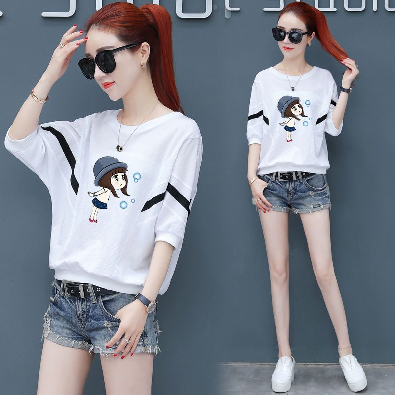 Short sleeve T-shirt womens summer 2020 new womens loose Korean casual top versatile Batman 5-sleeve T-shirt