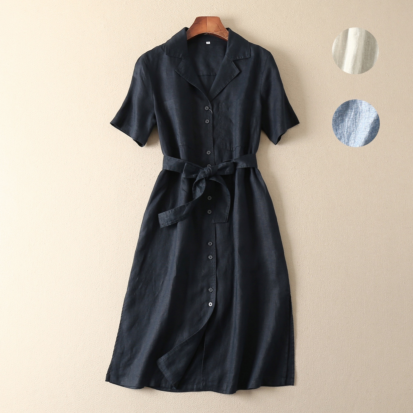日本日系外贸女装西装领麻料亚麻棉麻苎麻短袖开叉中长款连衣裙女