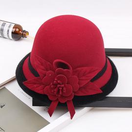 女士帽子秋冬新款羊毛呢渔夫帽韩版英伦时尚花朵盆帽名媛优雅礼帽