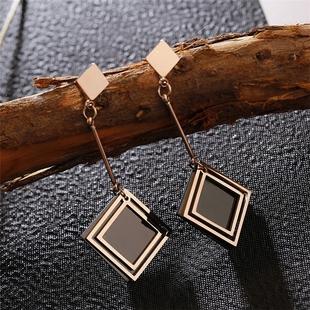 氣質黑色菱形方塊高級感鈦鋼耳環長款網紅顯臉瘦的耳墜耳釘女大氣