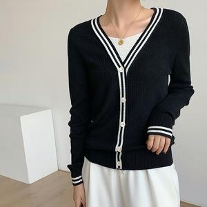 實拍#2021秋季新款韓版撞色假兩件羊毛針織衫女寬松顯瘦