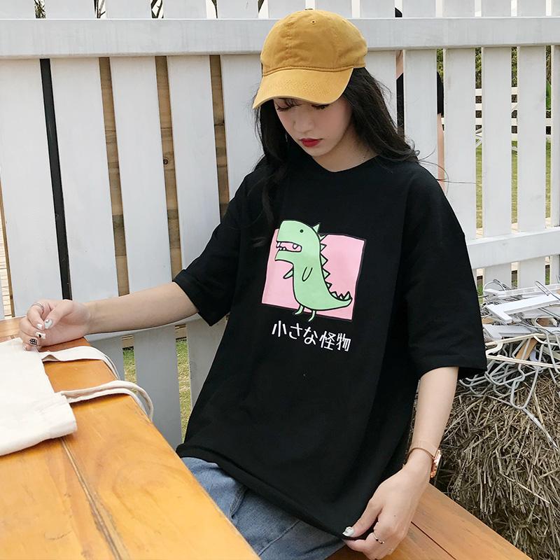 控价27元 实价实拍 韩版小恐龙宽松中长款卡通可爱t恤女短袖