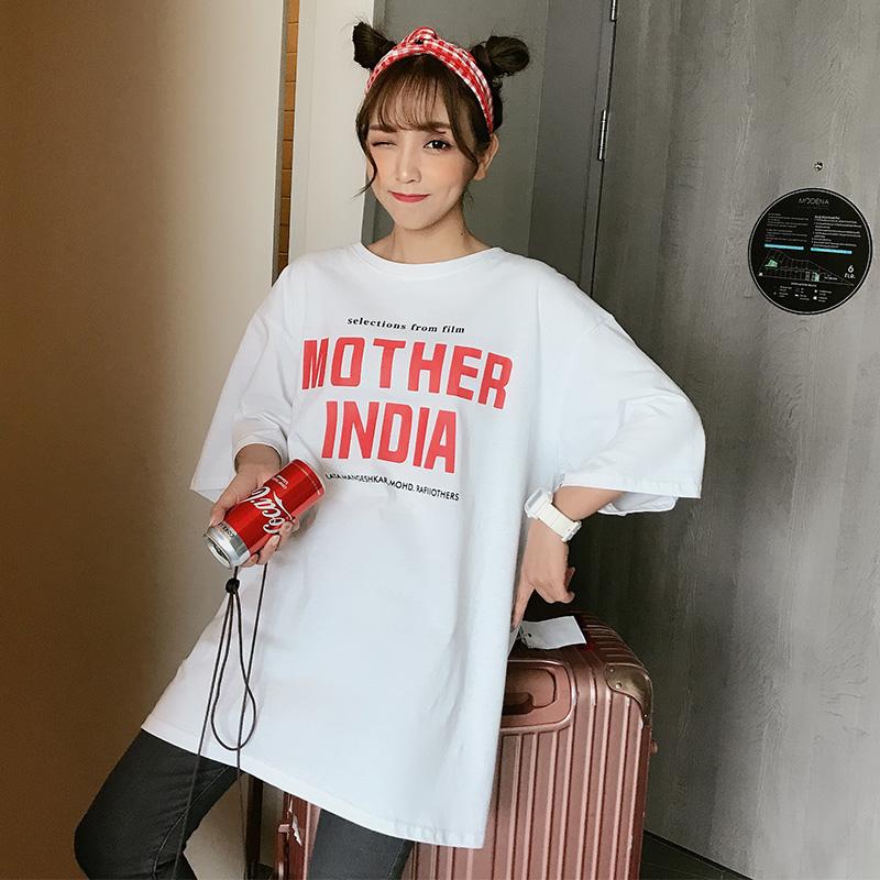 实价实拍已检测 中长款韩版网红宽松下衣失踪百搭学生短袖t恤女