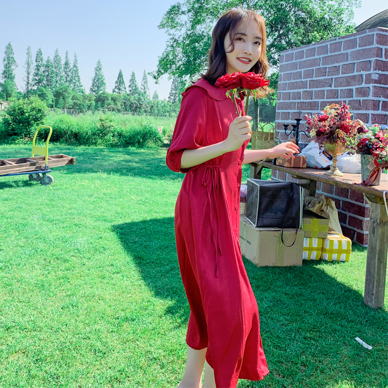 10-11新券真丝绸缎面红色连衣裙2019夏新款娃娃领甜美复古过膝很仙的小个子