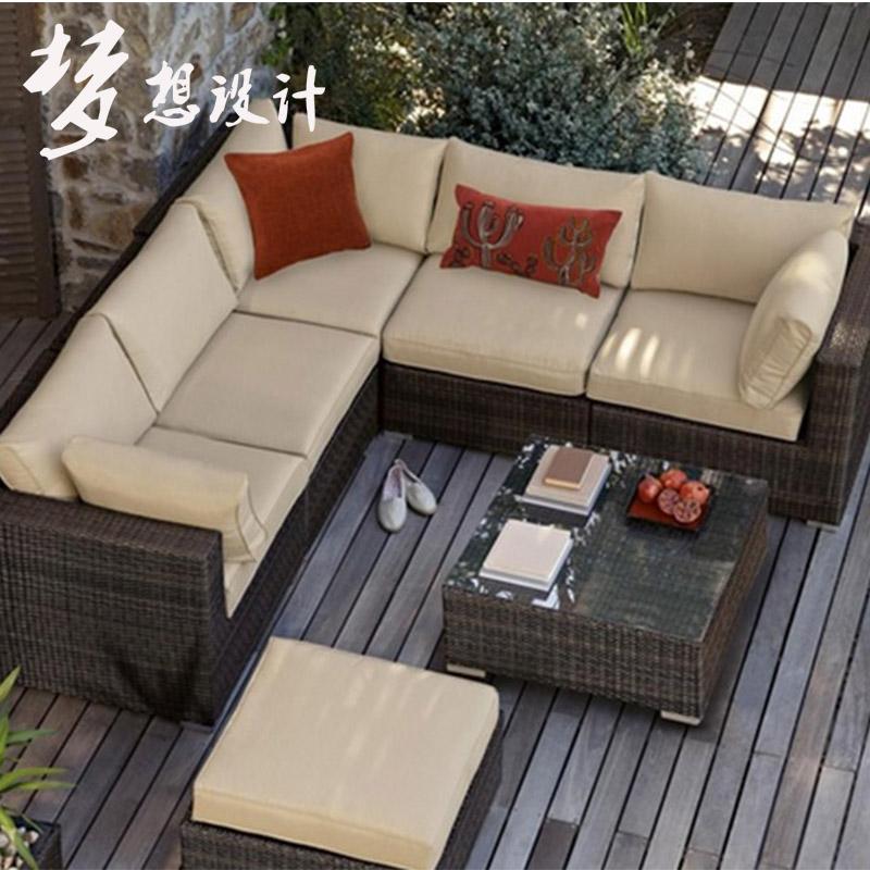 户外藤沙发组合阳台藤编藤椅双人三人沙发室外庭院露台藤艺沙发