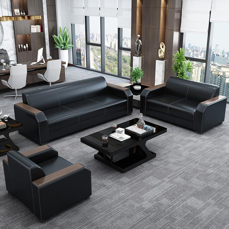 办公沙发 现代简约时尚新中式办公室会客商务接待三人位茶几组合