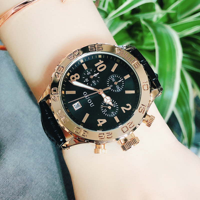 Guou womens watch fashion trend belt calendar atmosphere fashion table personality cool big dial womens Watch