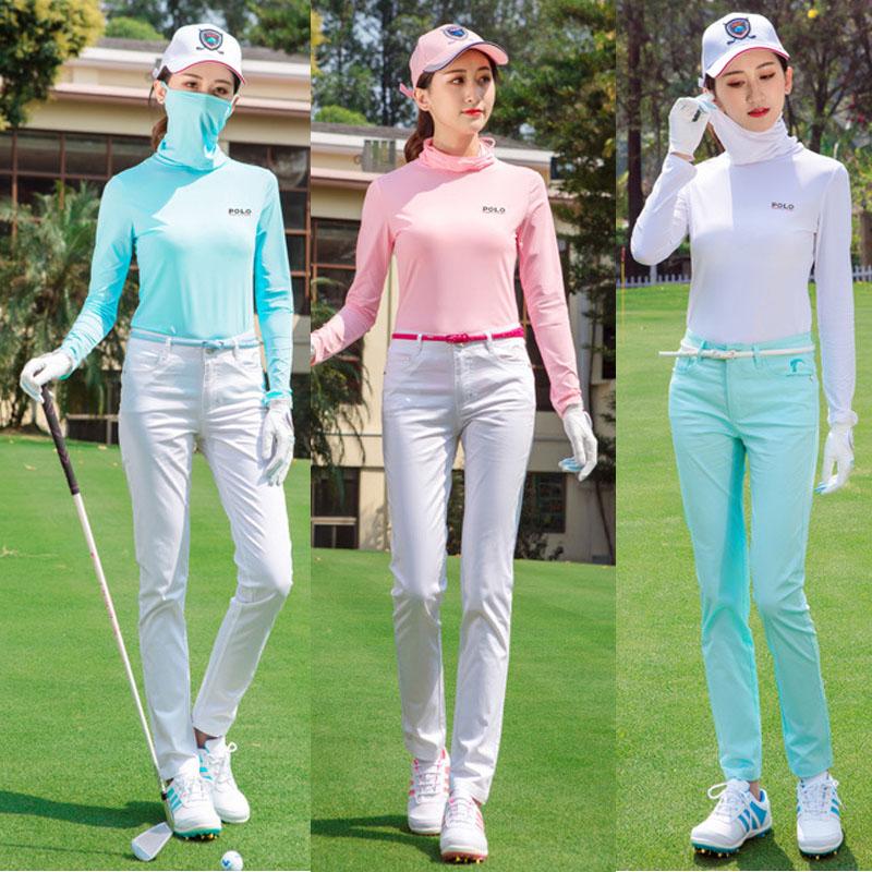 Summer Golf womens high collar sunscreen clothing Jumpsuit mask ice bottom shirt outdoor sports ball suit tights