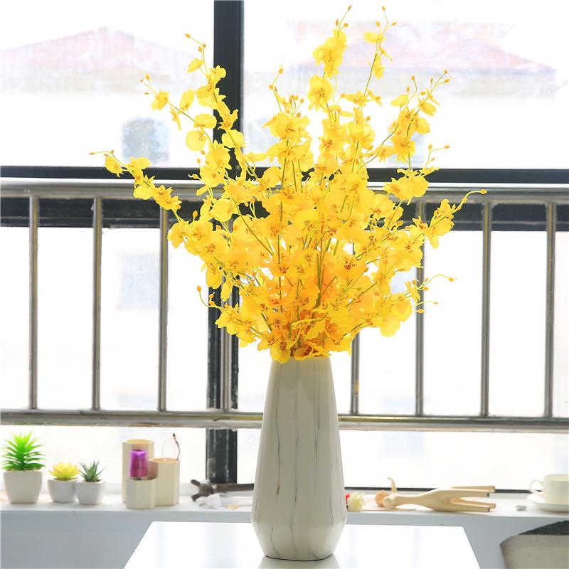 黄色跳舞兰仿真花束塑料绢花插花假花室内装饰花干花摆设客厅摆件券后9.50元