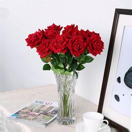 仿真玫瑰花情人节塑料花束单支假花客厅餐桌摆件插花干花摆设装饰图片