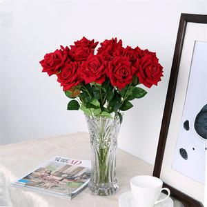 仿真玫瑰花情人节塑料花束单支假花客厅餐桌摆件插花干花摆设装饰