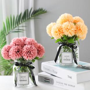 仿真绣球花玫瑰花束客厅餐桌花瓶装 饰干花假花插花艺摆件家居摆设