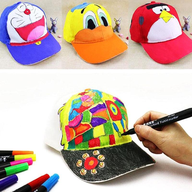 White cotton painting hat cap cap blank hand painted graffiti children DIY creative art parent child baseball cap