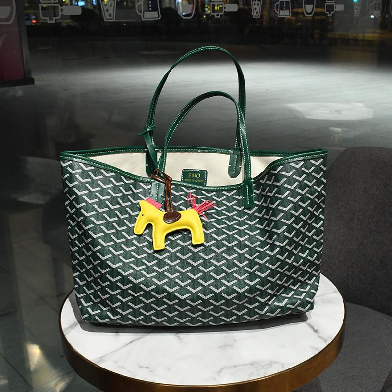 Korean authentic dog tooth bag 2021 new high-capacity one shoulder bag womens summer ins vegetable basket shopping bag m Tote Bag