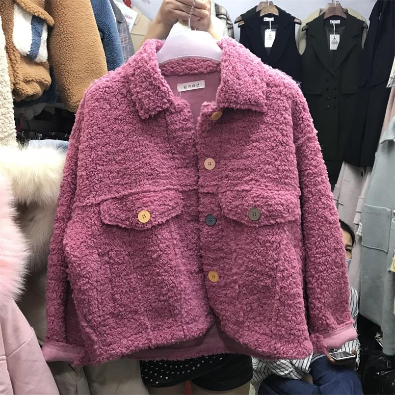 2018新款冬季韩版宽松羊羔绒毛绒绒羊羔毛圈圈外套女冬短款潮