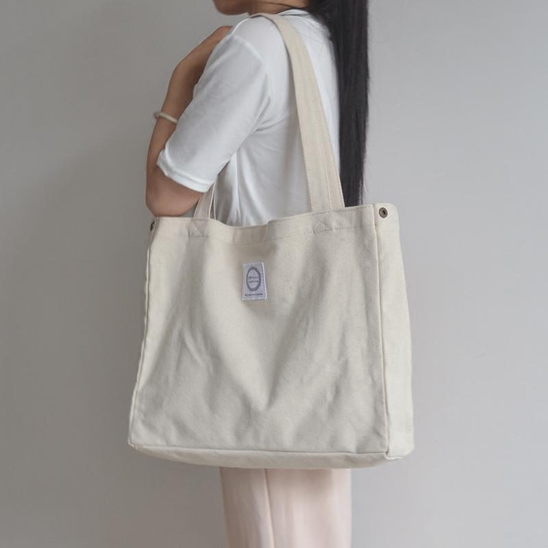 大容量帆布包女手提包韩版休闲单肩包学生白色文艺帆布袋简约百搭