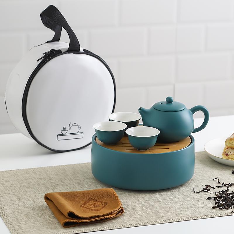 INS户外陶瓷旅行茶具套装带茶盘家用功夫茶具便携式随身泡茶茶壶