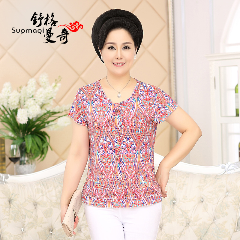 中老年女装T��春装老年人短袖40-50岁中年雪纺衫妈妈装打底衫上衣