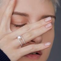 美国GOT MADE百搭S925纯银 天然淡水珍珠满钻欧美范儿戒指 女指环
