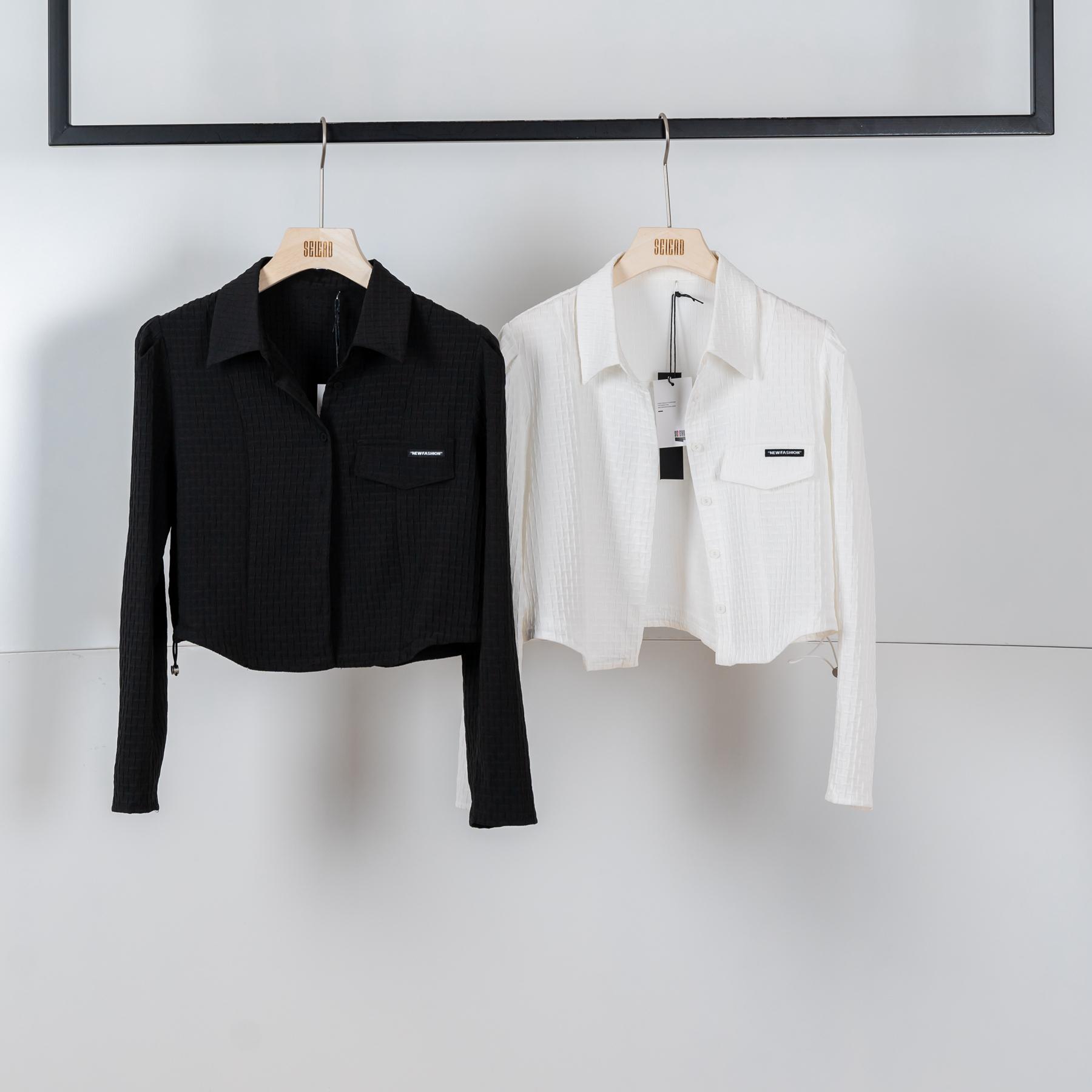 SELEAD欧美斑点设计感修身衬衫短外套Q1736CS