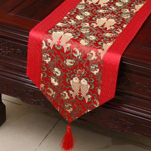 艺必旭中式田园桌旗桌布茶几布床旗柜旗桌垫长餐桌布欧式布艺定制