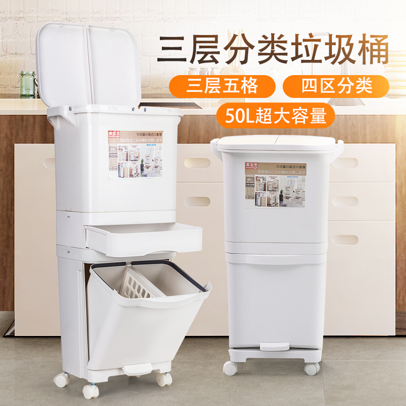 Meibaojie 4-in-1 household sorting trash can household use Shenzhen commercial kitchen super large Japanese integrated type