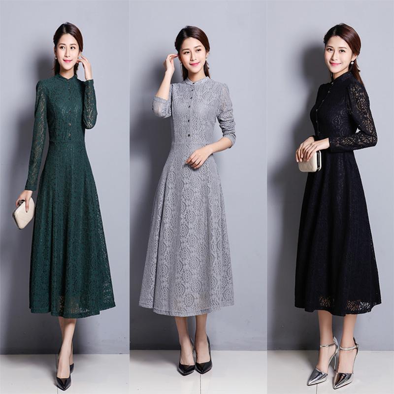 2019春秋蕾丝镂空连衣裙大码中年气质修身长袖女装收腰显瘦打底裙