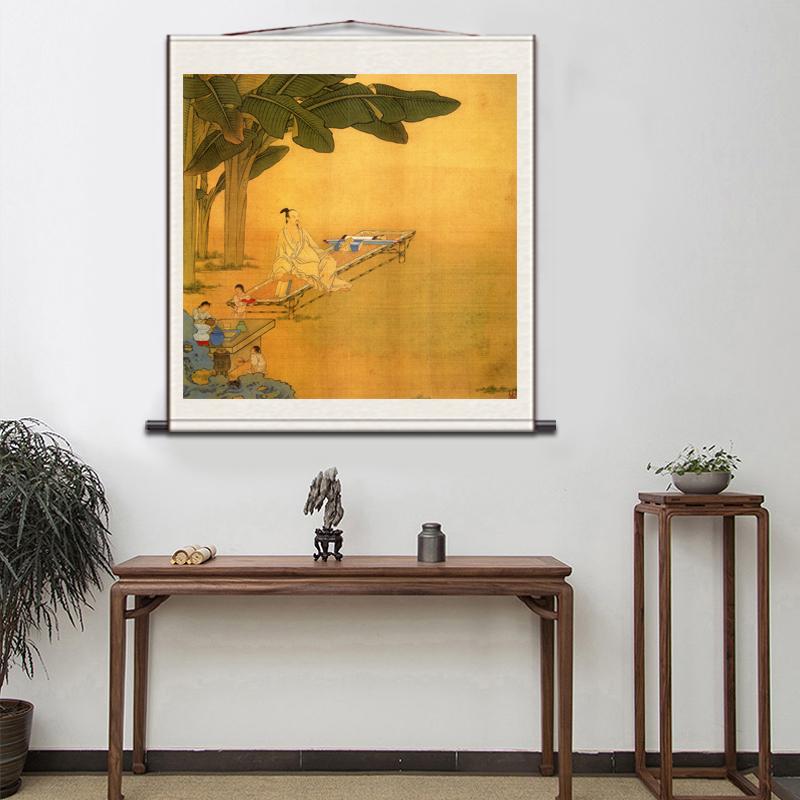 家居卷軸國畫宣紙仿古掛畫絹畫電表箱裝飾絲綢畫山水畫斗方花鳥畫