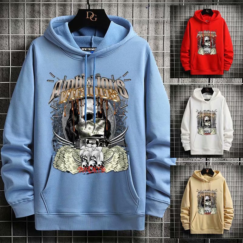 Autumn and winter 2020 new fleece mens trend European and American big size Hoodie outdoor solid color mens sweater