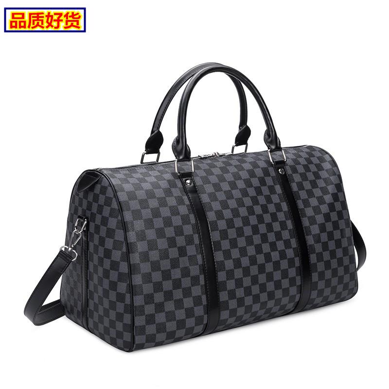 2020 European and American fashion white grid womens travel bag heigden machine bag fitness mens bag business travel bag trend