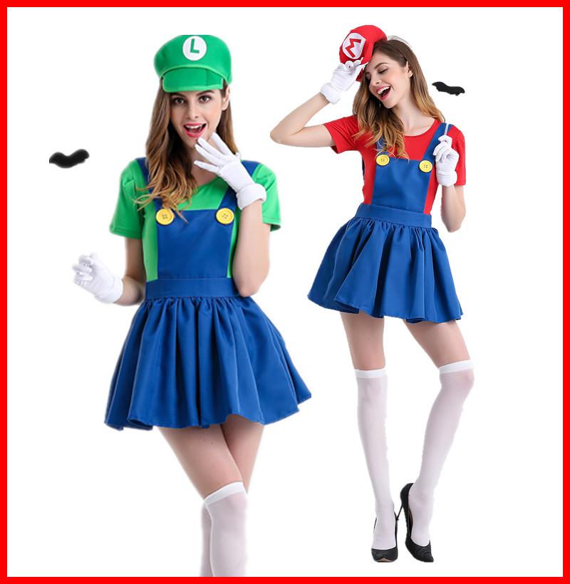 马里奥mario动漫游戏制服 角色扮演超级玛丽万圣节服装玛丽奥服装