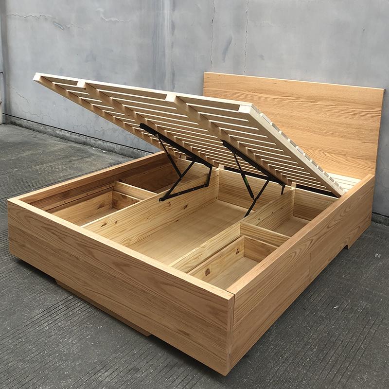 北欧实木床橡木抽屉气动箱体床黑胡桃木榻榻米储物床1.8米双人床