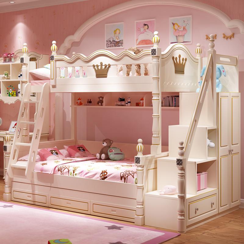 11月14日最新优惠美式高低床上下床双层床儿童床女孩公主实木上下铺木床子母床成年