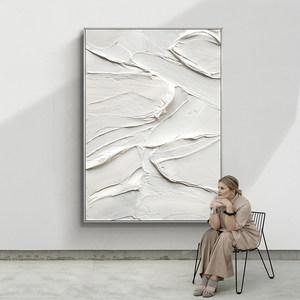 手绘油画现代简约抽象立体纯白挂画