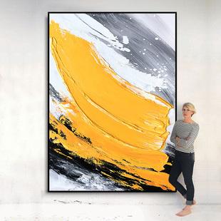 手绘油画 现代简约抽象肌理艺术装饰画 黄色色块 玄关过道挂画