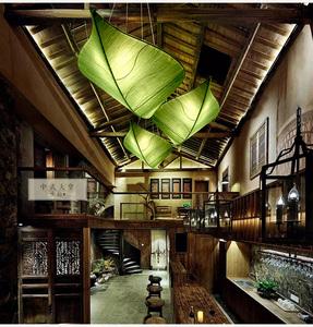 包邮新中式布艺树叶吊灯创意餐厅茶馆卧室吸顶灯客厅美容院墙壁灯