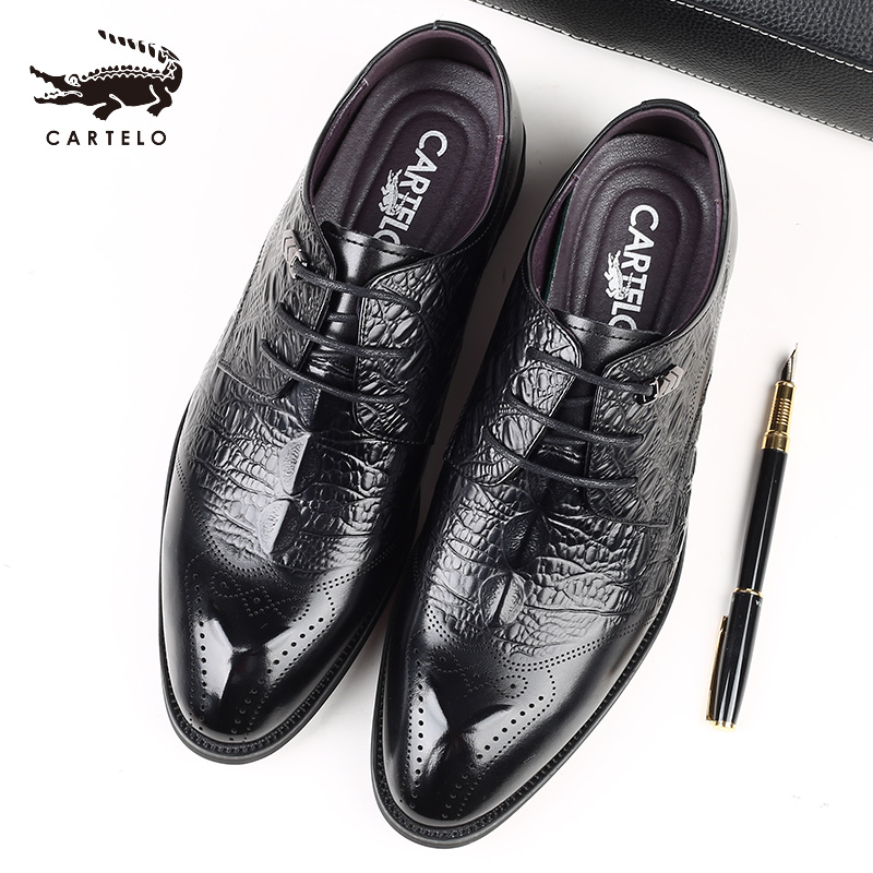 Cartier crocodile mens shoes Brock business dress leather shoes mens leather Korean soft sole breathable casual shoes