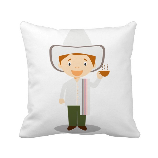 White hat Columbia cartoon character square pillow back pillow sofa back cushion double-sided core gift