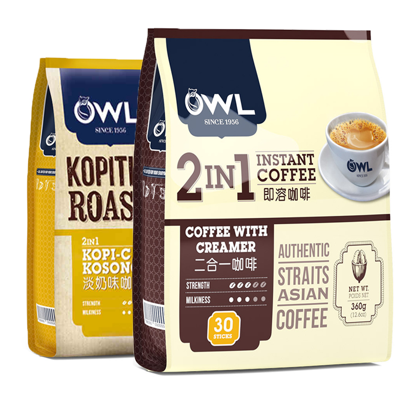 Singapore owl owl coffee 2 in 1 sugar free freeze dried super strong instant coffee powder light milk bar pack 360g