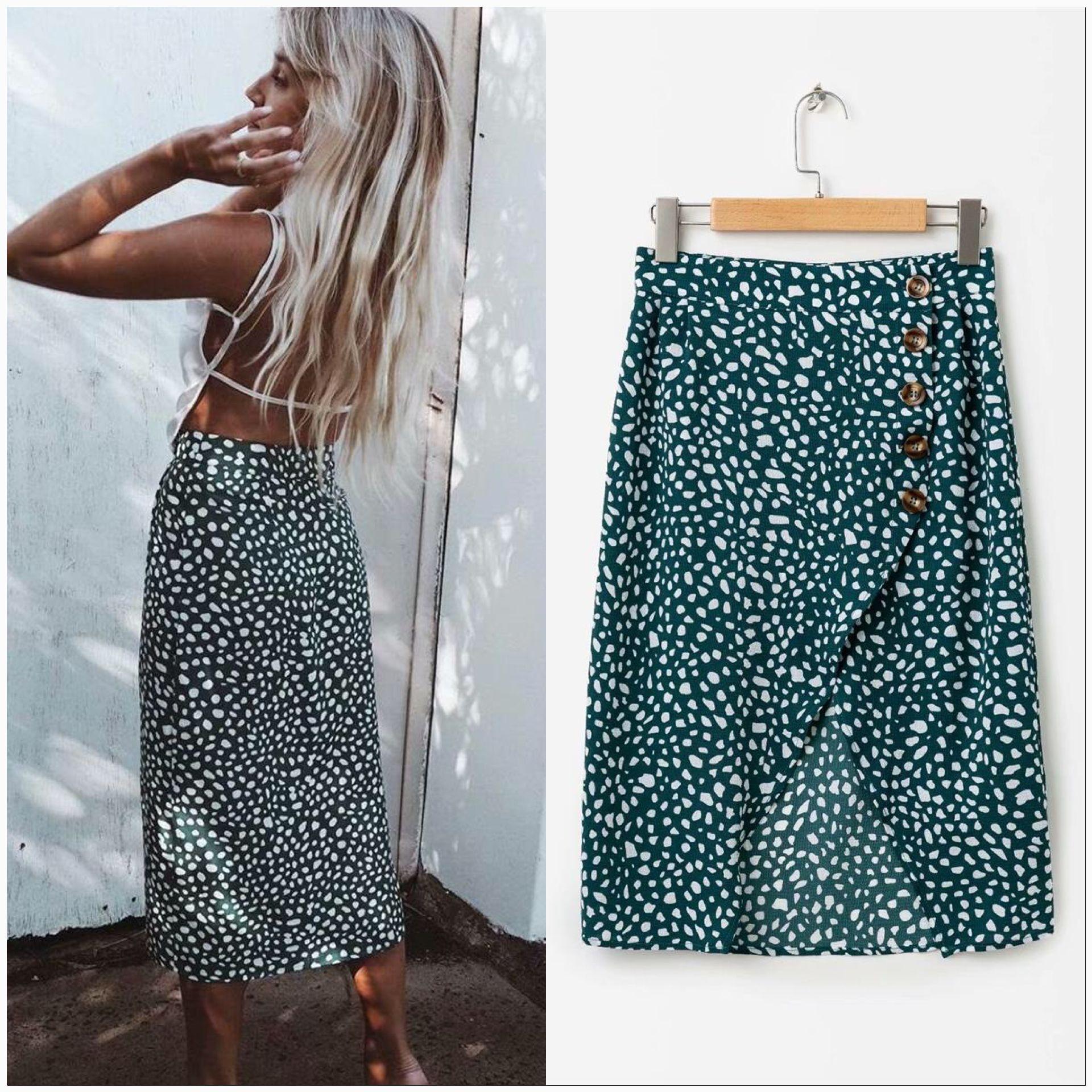 Cross border popular womens quick sell skirt womens sexy side slit printed beach skirt 039-c291