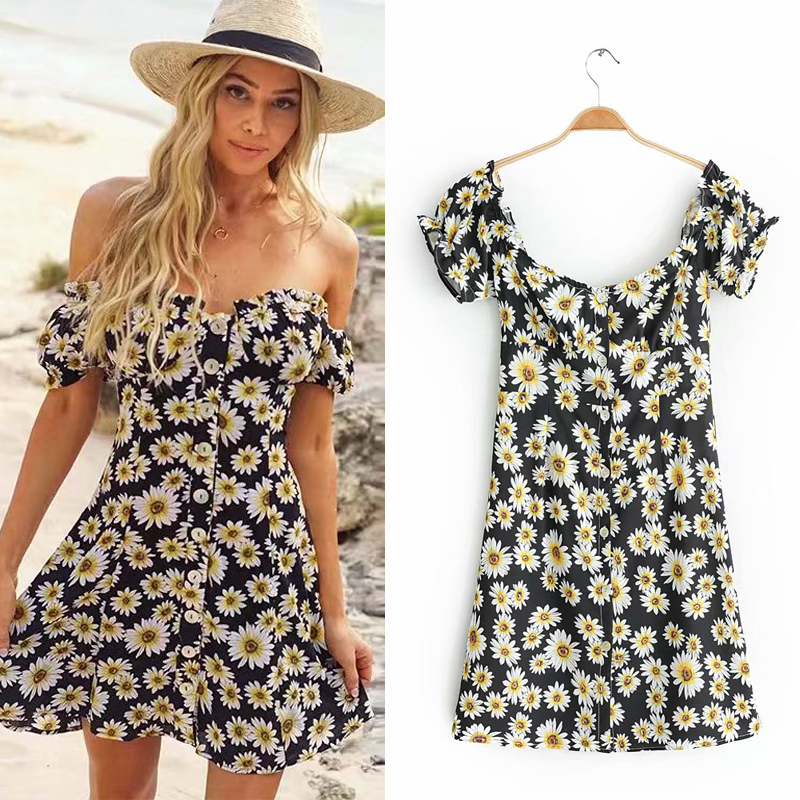 New spring / summer 2019 age reduction one word short sleeve two wear chrysanthemum print Mini Dress Black