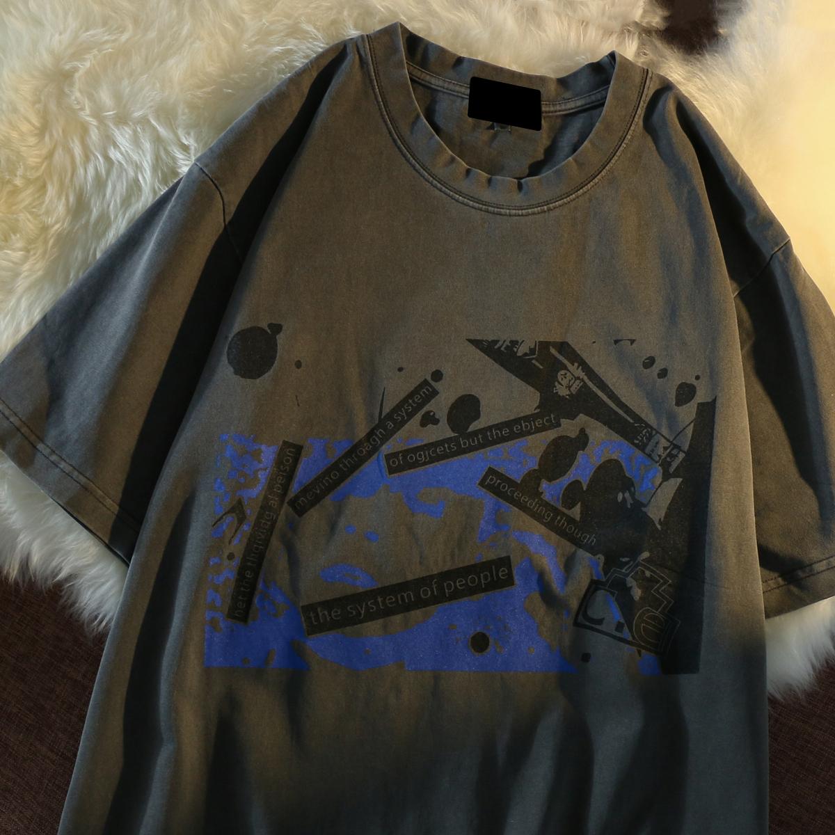 欧美高街水洗做旧短袖t恤女夏季宽松vintage复古半袖体恤嘻哈上衣