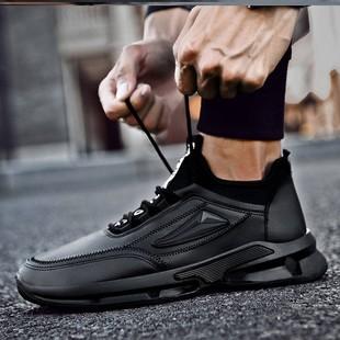 厨师防滑防水厨房男士板鞋小黑皮鞋