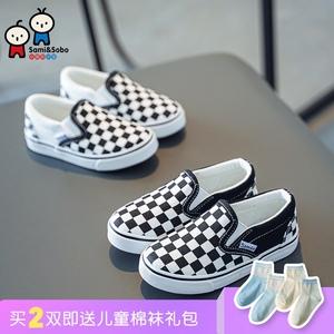 儿童2021春秋新款棋盘格男童鞋子