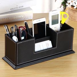 商务办公桌面双格笔筒 创意时尚个性文具多功能收纳盒 皮质名片座图片