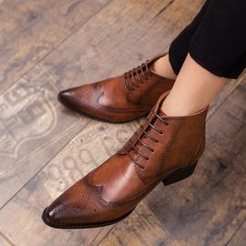 布洛克雕花皮鞋商务英伦风男鞋正装皮靴男尖头靴子高帮马丁靴短靴